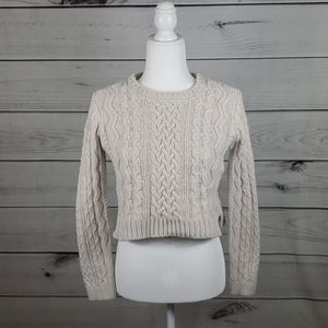 Kendall & Kylie • S sweater cable crop crew neck